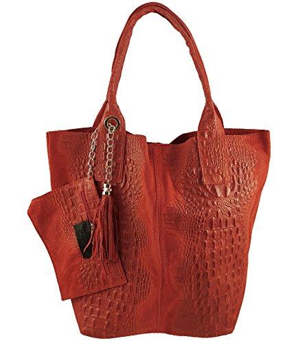 Freyday Damen Echtleder Shopper mit Schmucktasche in vielen Farben Schultertasche Henkeltasche Handtasche Metallic look (Rot Kroko)