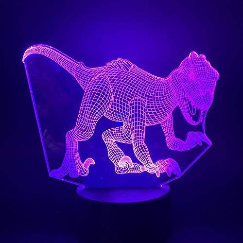 Parque Jurásico Dinosaurio Velociraptor 3D Lampe D & Eacute; Corative Visuelle Multicolore Belle Prix Moderne Pour Adolescent Led Veilleuse Lampe-2_Bluetooth_Base
