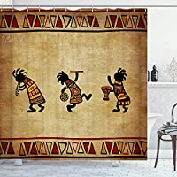 Nextchangeシャワーカーテンアフリカの部族古代黒砂茶色のバスルームカーテン防水装飾セット12フック付き-66x72インチ