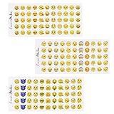 NOBBEE Emoji-Aufkleber, 12 Bögen Emoticon-Sticker (1cm) Smiley Gesicht dekorative lustige Gesichter von Facebook iPhone 1 cm Emoji Sticker