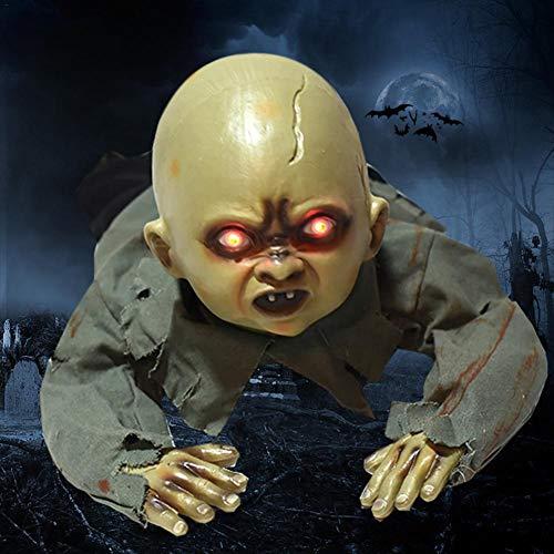 iYoung Decoraciones De Halloween, Animación Gateando Baby Zombie Scary Ghost Babies Doll Haunted Halloween Decoración Accesorios Suministros