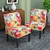 Armless Accent Chairs Set of 2, Upholstered Fabric Dining Living Room Chairs w/Solid Wood Legs for Dining Living Room Sofa,Floral- Multicolor
