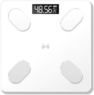 WANGHEN-Bathroom scale Pantalla Profesional de Grasa Corporal electrónica Báscula Composición Corporal Análisis Escala de Salud Smart Home báscula de baño de visualización Durable (Color : White)