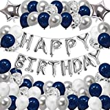 Birthday Decorations Happy Party Balloons Banner Supplies for Boys Girls Men Women Kids Navy Blue and Silver Confetti Latex Sets for 1st,13th,16th,18th,21st,30th,40th,50th