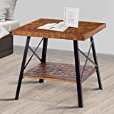 "Olee Sleep 24"" Solid Wood & Dura Metal Legs End Table, Rustic Brown"