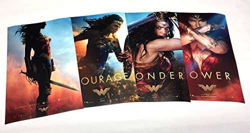 Wonder Woman 2017 (Set of 4 - Advance 11'x17' Collector's Poster Prints and The Bonus WW Metallic Print) Courage, Wonder, Power. Each Print is 11'x17' Full Bleed (no White Border).