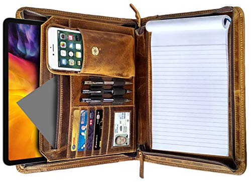 Business Leather Padfolio Leather Portfolio   Professional Organizer Gift for Men & Women   Durable Leather Padfolio   Easy to Carry with A Zippered Closure   Many Slots, Compartments & Holders