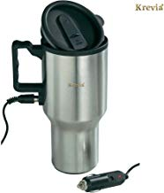 Krevia 12V Car Charging Electric Kettle Stainless Steel Travel Coffee Mug Cup Heated Thermos 450Ml