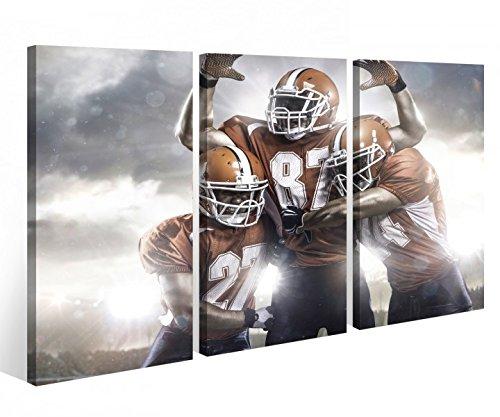 Leinwandbild 3 Tlg American Football Touchdown Sport Leinwand Bild Bilder Holz fertig gerahmt 9P771, 3 tlg BxH:90x60cm (3Stk 30x 60cm)