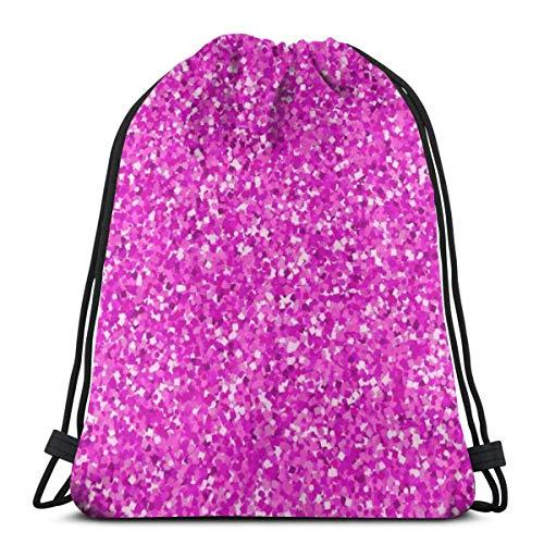 BXBX Trasportare Bags Pink Glitter Background Boys Girls Teenager Drawstring Bag Full printing Drawstring Backpack School
