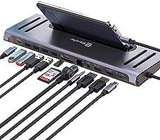 XtremeMac 12 in 1 USB C Hub Adapter, Type C Laptop Docking Station with Ethernet, 4x USB 3.0, USB-C Power Supply, 2x 4K...