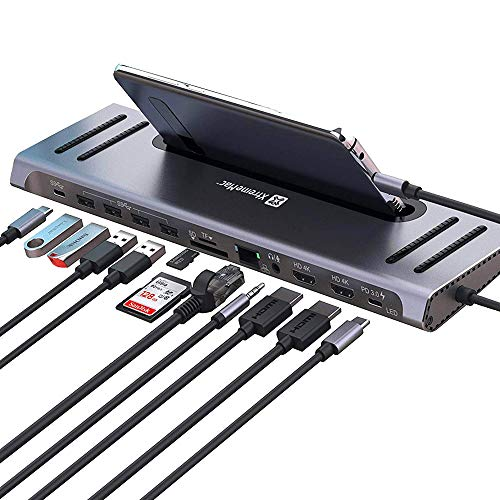 XtremeMac 12 in 1 USB C Hub Adapter, Typ C Laptop Dockingstation mit Ethernet, 4x USB 3.0, USB-C Stromversorgung, 2x 4K HDMI, VGA, Audio Mic Port, SD/TF Kartenleser für MacBook Pro und andere
