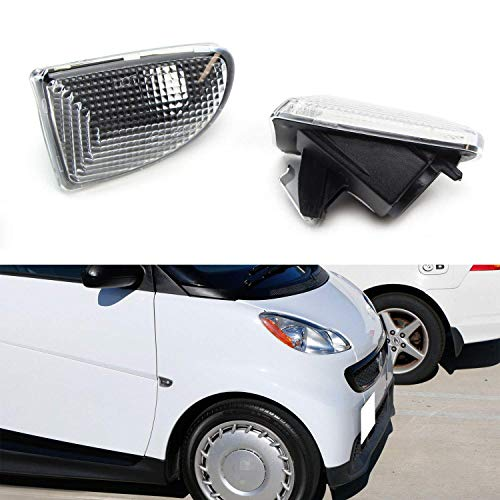 iJDMTOY Euro Clear Lens Front Side Marker Light Lens Housings Compatible With 2007-15 Smart Car Fortwo, Replace OEM Sidemarker Lamps