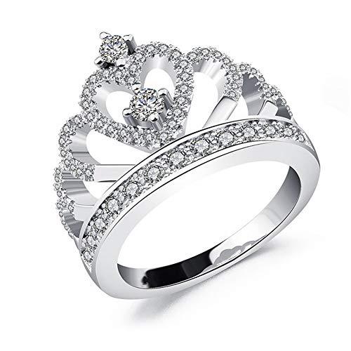 Ellepigy Anillo clásico de corona para niña, regalo de San Valentín, 9