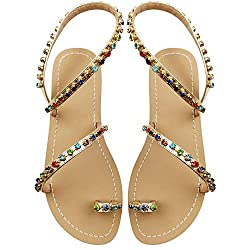 Small Colorful Crystal with Rhinestone Bohemia Flip Flops T-Strap Sandal