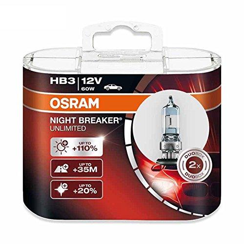 Osram HB3 12 V 60 W 9005NBU Night Breaker Unlimited Auto Bombillas Halógenas Faro 2X
