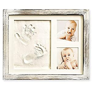 Best quality baby keepsake using vintage farm house solid wood frame; contains everything you need to create the perfect keepsake; includes non toxic clay, acrylic safety glass, 2 sided tape for pictures, rolling pin, choice of 3 colored mats pink, b...