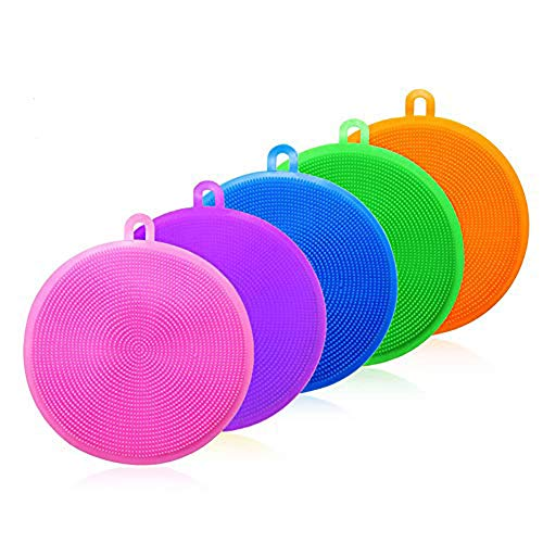 HosDen Kitchen Silicone Sponge, 5 Pieces BAP Free Silicone Pads Anti-Bacterial Non-Scratch Dish Washing Scrubber Pot Holder Multipurpose Sponges for Cleaning Vegetable Kitchen Utensils (circular)