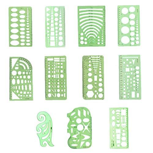 Yililay 11PCS geométrica Plantillas Dibujos, Verde de plástico Transparente Reglas Las Reglas geométricas de medición Plantillas