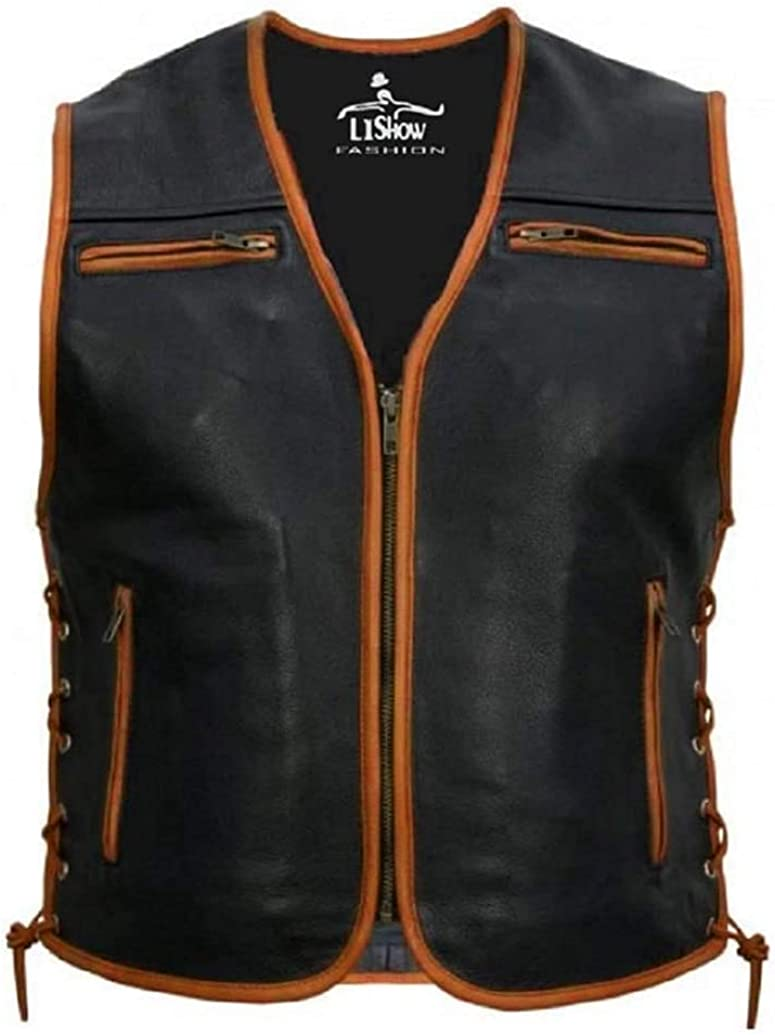 Men's Biker Rider Rocker Motorcycle Motorbiker Chopper Cafe Racer Black Cowhide Sleeveless Leather Vest