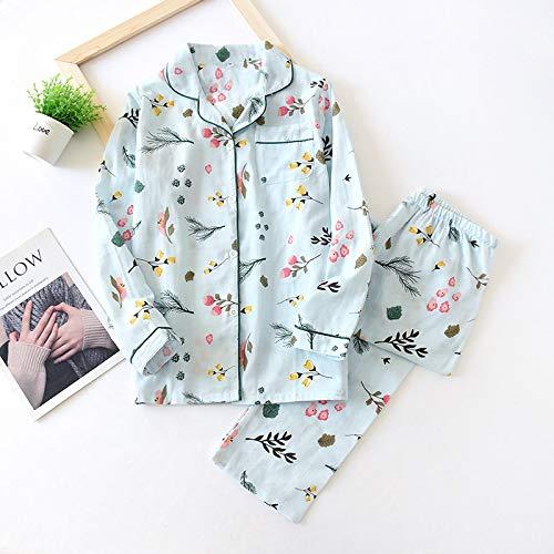 Pijamas Conjunto De Pijama De Hoja De Arce Fresco para Mujer, 100% Gasa De Algodón, Manga Larga, Ropa De Dormir Informal, Pijama para Mujer L Ntz8