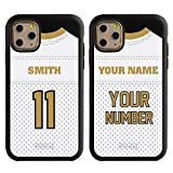 Custom Football Jersey Case for iPhone 11 Pro Max by Guard Dog - Personalized Sports - Your Name and Number on a Protective Hybrid Phone Case (White Jersey Black, Black)