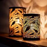 ZEYA Windlicht schwarz Metall 2er Set, Windlicht Gold Deko, Perfekte Dekoration Wohnzimmer, Windlicht Laterne Blätter - 6