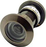 """TOGU TG3828YG-AB Brass UL Listed 220-degree Door Viewer with Heavy Duty Privacy Cover for 1-3/5"""" to 2-1/6"""" Doors, Antique Bronze Finish"""