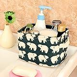 Ciaoed Kleine Baby Leinen Speicher Organizer Sets (Beige, Grau, Pink, Blau) Stoff Aufbewahrungsbox Organizer mit 2 Griffen auf beiden Seiten 20.5x17x15cm -Sets von 4 - 5