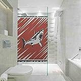 Film autocollant en verre 3D statique pour fenêtre, salon, chambre, cuisine, couloir, porche, bureau, tueur de requins, nage dans l'océan à Grung, 17,7 x 78,7 cm