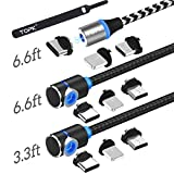 TOPK USB Magnetic Cable,(3-Pack,3.3ft/6.6ft/6.6ft) Magnetic Charging Cable,3 in 1 Nylon Braided Phone Charger Cable Compatible with Micro USB,Type C and iProduct