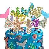 Sunshine smile Cake Topper de Sirena,Cupcake Topper Set,de Sirena Cupcakes decoración,Cupcake Toppers Picks,Torta de Fiesta de cumpleaños(Sirena 36 Piezas)