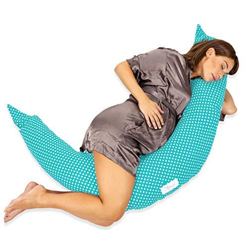 Cuscino Gravidanza per Dormire e Allattamento Neonato con Zip a Scomparsa in Fiocchi di Fibre per Sostegno del Corpo della Mamma e del Bimbo Riduttore e Paracolpi Lettino KHugs