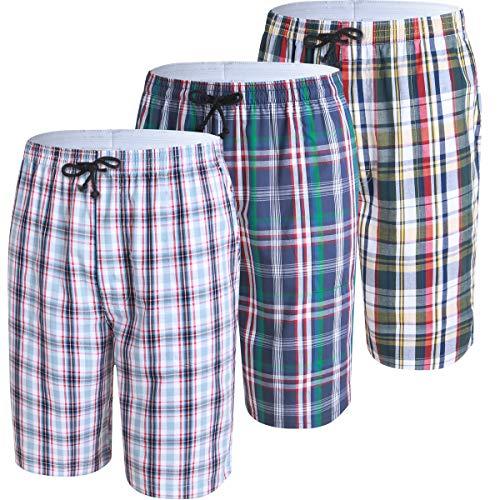 JINSHI Mens Lounge Sleep Shorts Relaxed Pajamas Plaid Poplin Woven 3Pack Cotton Size L