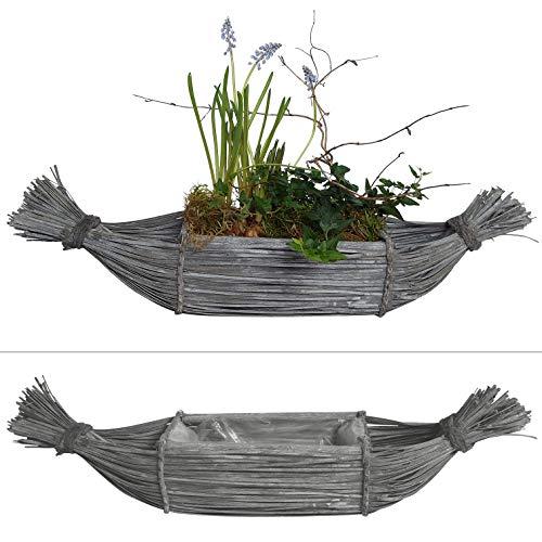 2 Schiffchen zum Bepflanzen im Set - 66 cm lang - Blumentopf aus Ästen, Holz gebogen, Blumenkasten (Grau)