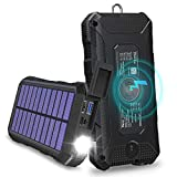 Solar Charger 24000mAh, 18W USB C Power Bank Solar Phone Charger Tranmix Wireless Charger with Flashlight and 4 Outputs for Smartphone, Tablet and Laptop