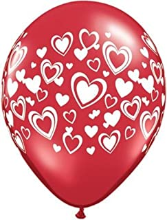 Red Double Hearts Qualatex Latex 11