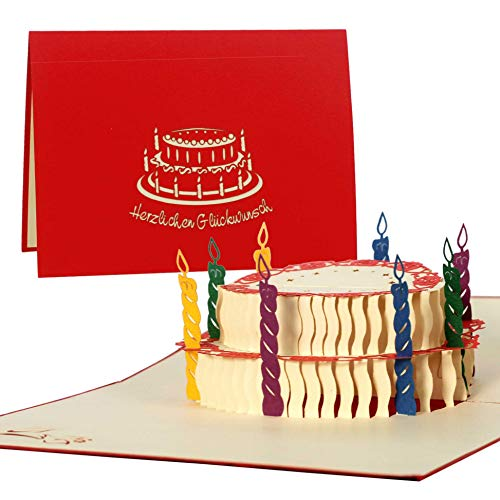 Riesige Karte zum Geburtstag, Herzlichen Glückwunsch, groß, DIN A5, Gutschein, Torte, Glückwunschkarten, Karte zum Geburtstag, Geschenkkarte, G11