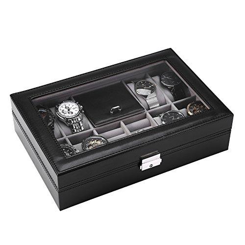 Vitrina de reloj, caja de almacenamiento de joyería, caja de reloj multifuncional 8 ranuras + 2 rejillas caja de exhibición de reloj organizador de caja de almacenamiento de joyería de anillo(#1)