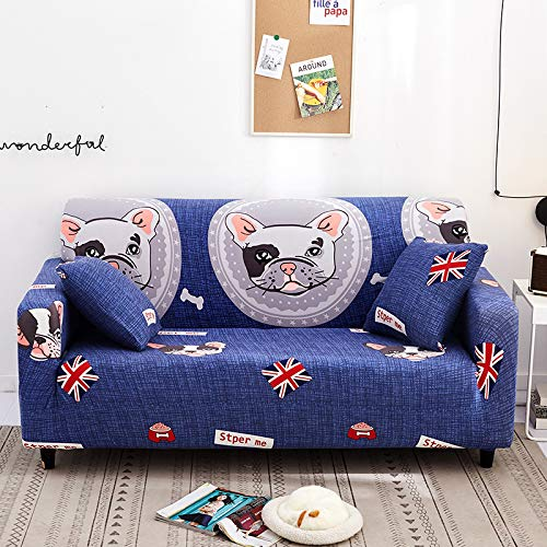 WIVION Printed Sofa Cover Stretch Couch Covers Sofa Slipcover for 1/2/3/4 Cushion Couch Slipcovers for Sofas Loveseat Armchair Elastic Protector,D,2 seater(145 * 185cm)