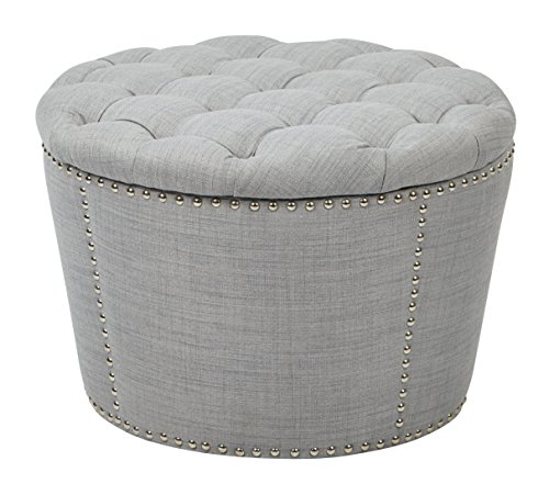 Office Star Lacey 2-Piece Nesting Storage Ottoman with Tufted Top and Nailhead Accents, Milford Dove