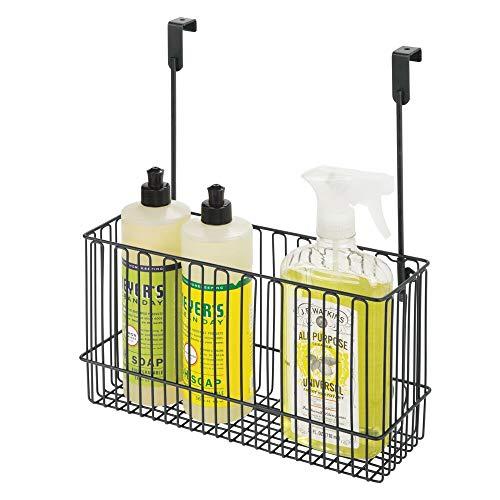 mDesign Metal Over Cabinet Kitchen Storage Organizer Holder or Basket - Hang Over Cabinet Doors in Kitchen/Pantry - Holds Bakeware, Cookbook, Cleaning Supplies - Steel Wire - Black