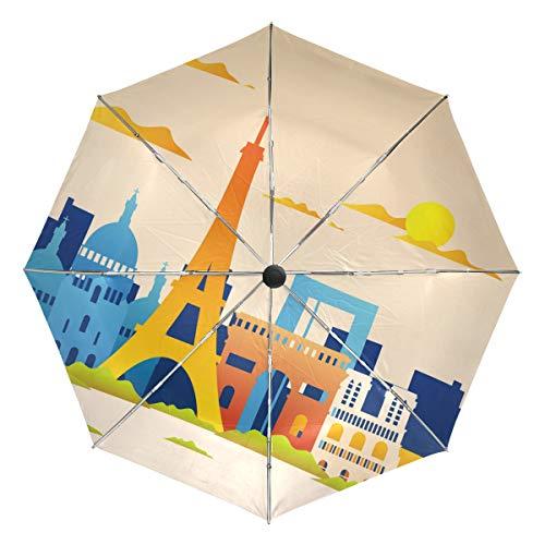 Regenschirm, Motiv: Skyline von Paris, faltbar, wendbar, Winddicht, verstärkt, UV-Schutz, ergonomischer Griff, automatisches Öffnen/Schließen