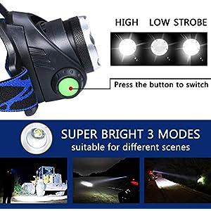 flintronic LED Linterna Frontal, 3 Modos Recargable Linternas Frontales, Linternas LED alta Potencia 6000K 800LM Impermeable para Camping, Excursión, Pesca, Carrera, Ciclismo