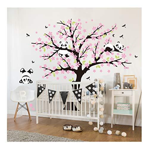 Sayala 3 Pandas Mignons Prune Rouge Fleur Stickers Muraux/Autocollant Arbre mural pour Décorer Chambres d'enfants, Garderie, Chambre Bebe (Rose)
