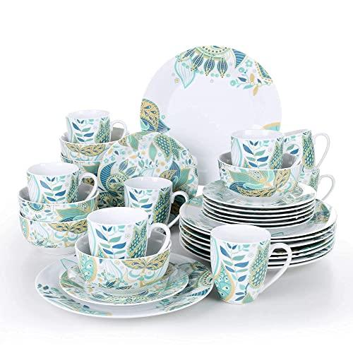 CCAN Juegos de vajilla Juego de vajilla de cerámica de porcelana de 32 piezas con plato de cena, plato de postre, cuenco de cereal, servicio de tazas de 380 ml para 4 vajillas de porcelana Interesting
