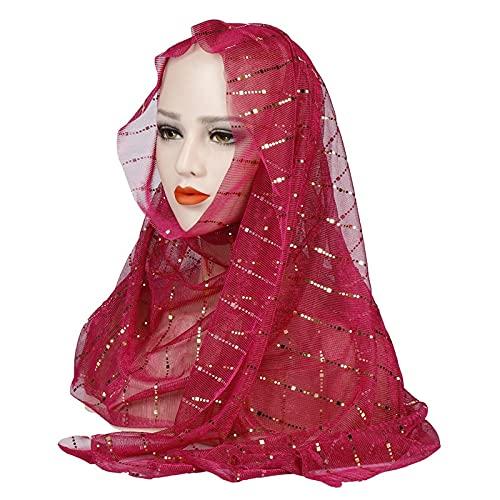 Vcnhln Turbante Fino de Verano para Mujer, Turbante musulmán Puro con Lentejuelas, Bufanda islámica, Chal musulmán Femenino y Turbante Turbante