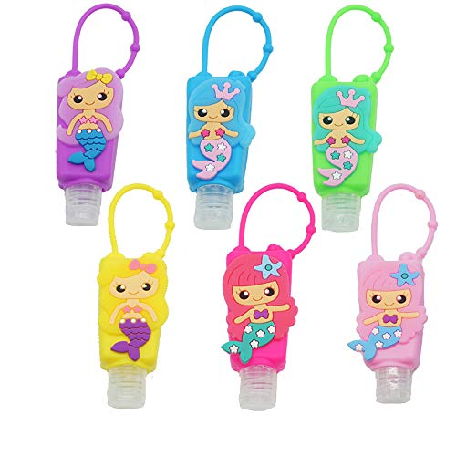 6 Pieces Empty Mixed Kids Hand Sanitizer Travel Sized Holder Keychain Carriers ~ 1 Oz Flip Cap Reusable Empty Portable Bottles (Mermaid)