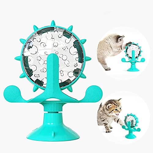 SunAurora Windmühle Katzenspielzeug, Interaktive Katzenspielzeug, Katzenspielzeug mit Saugnapfboden und Undichtem Loch, 360° Drehbar Vertikal Automatisches Katzenspielzeug