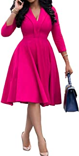 OLUOLIN Womens Vintage Sexy V Neck 3/4 Sleeve Cocktail Party Swing Dress